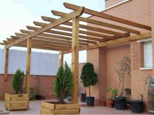 Pergolas de madera adosadas Mod Barcelona 1  Porches de